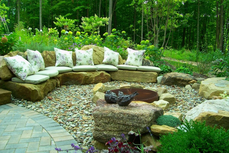 backyard stone patio design