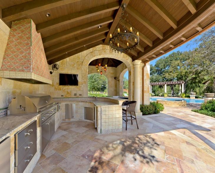 backyard patio kitchen design