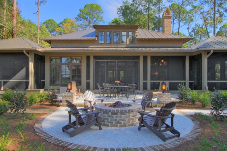 brick backyard fire pit design
