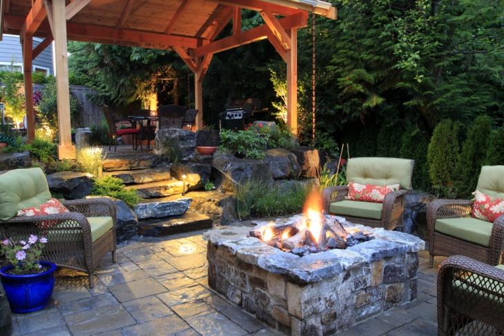 backyard stone fire pit design