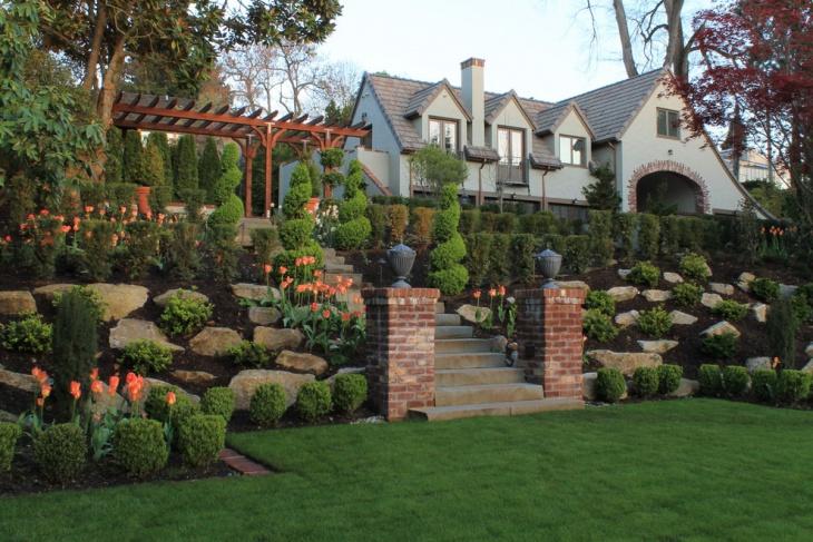 sloped backyard landscaping design