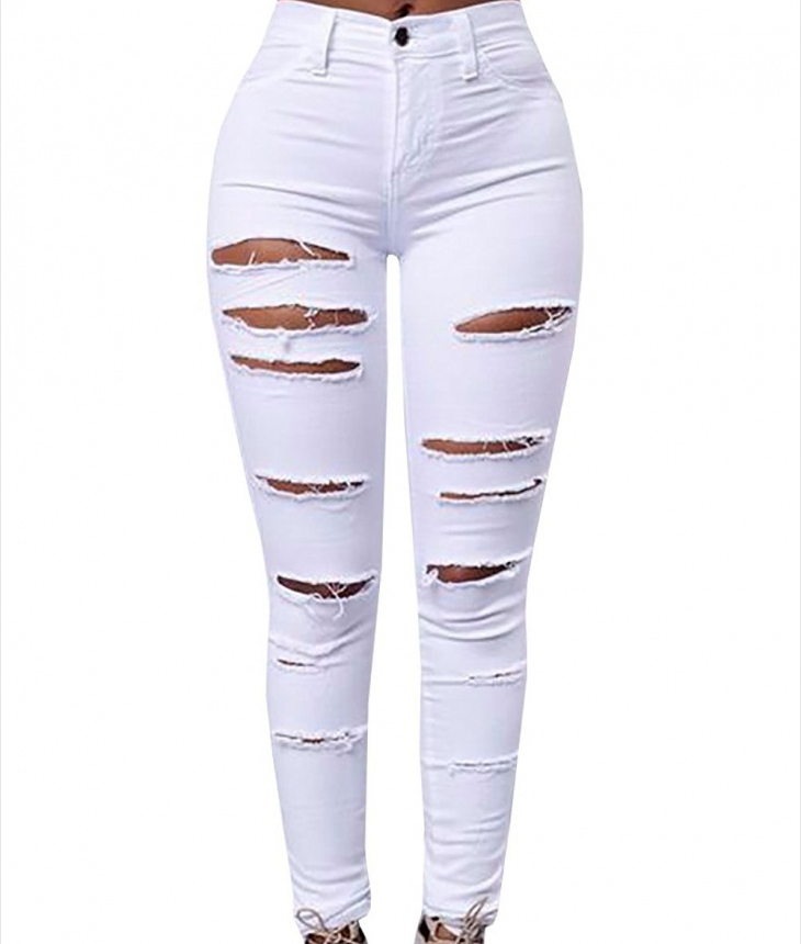 white cut up long jeans1