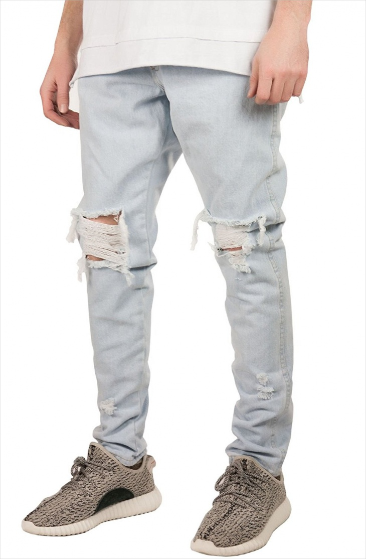 denim bleached ripped jeans