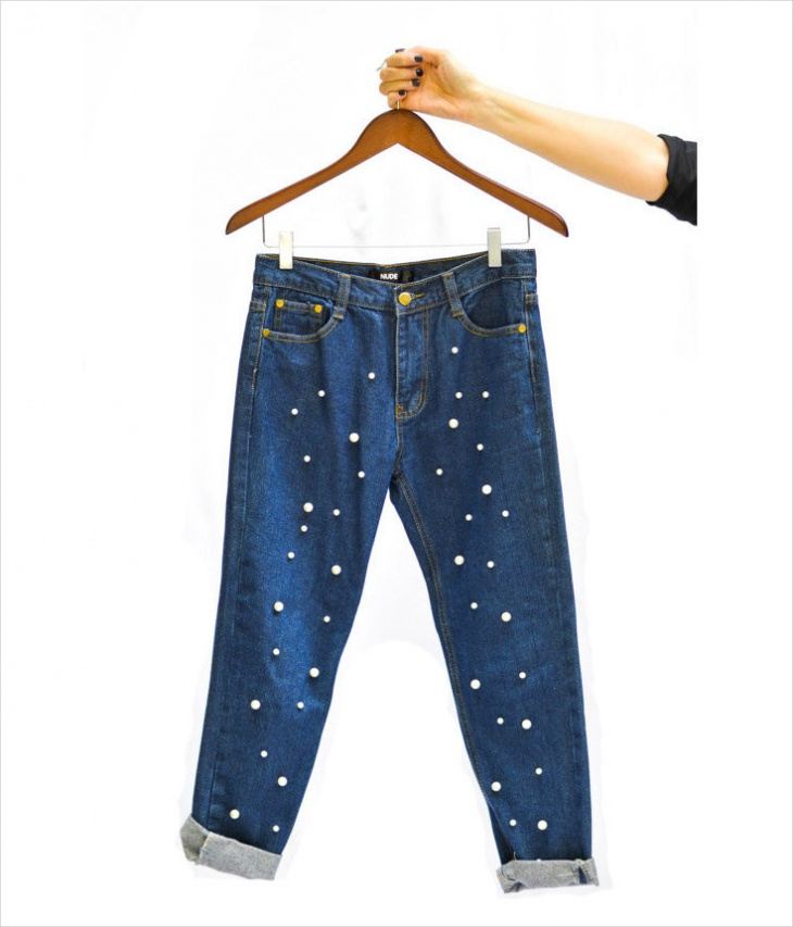 pearl embellished jeans design