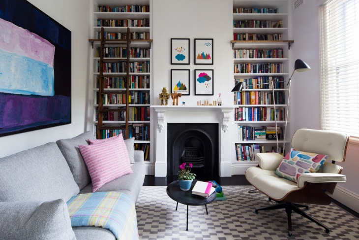 small home library interior
