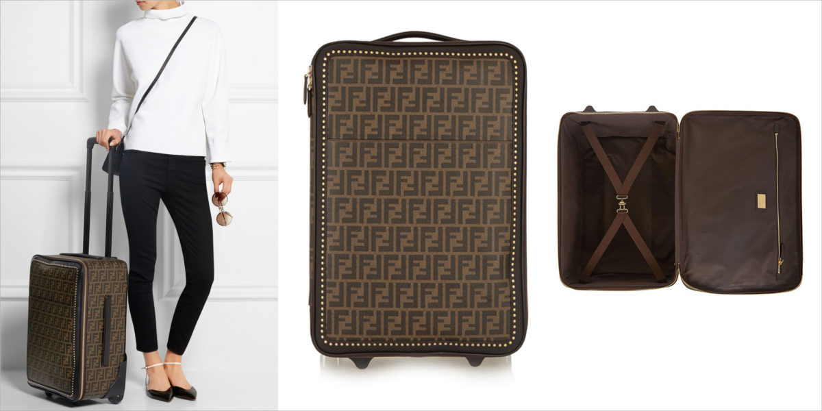 fendi printed faux textured leather travel trolley