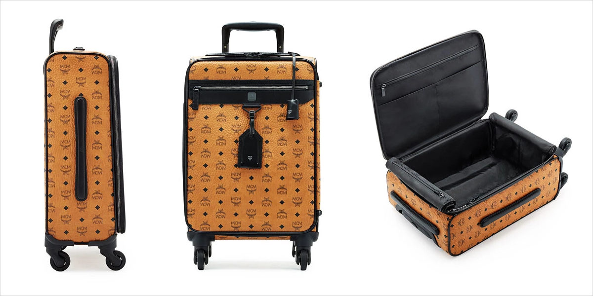 mcm visetos leather travel trolley