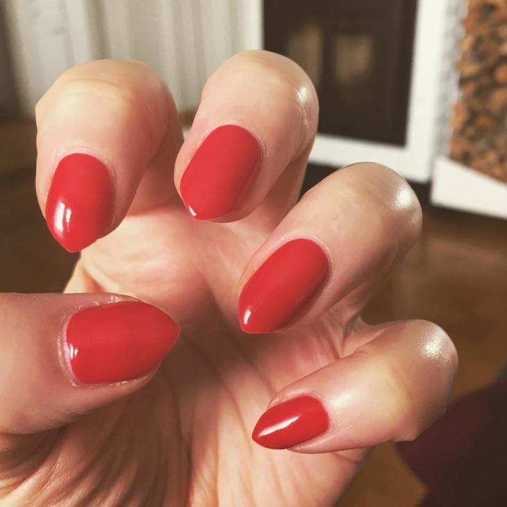 short red stiletto nail design