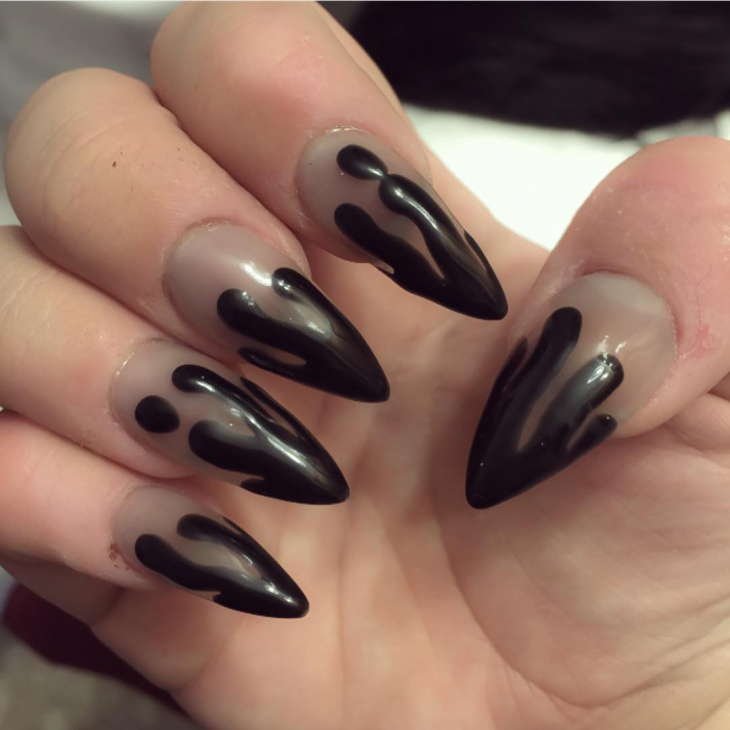 funky dripping stiletto nails