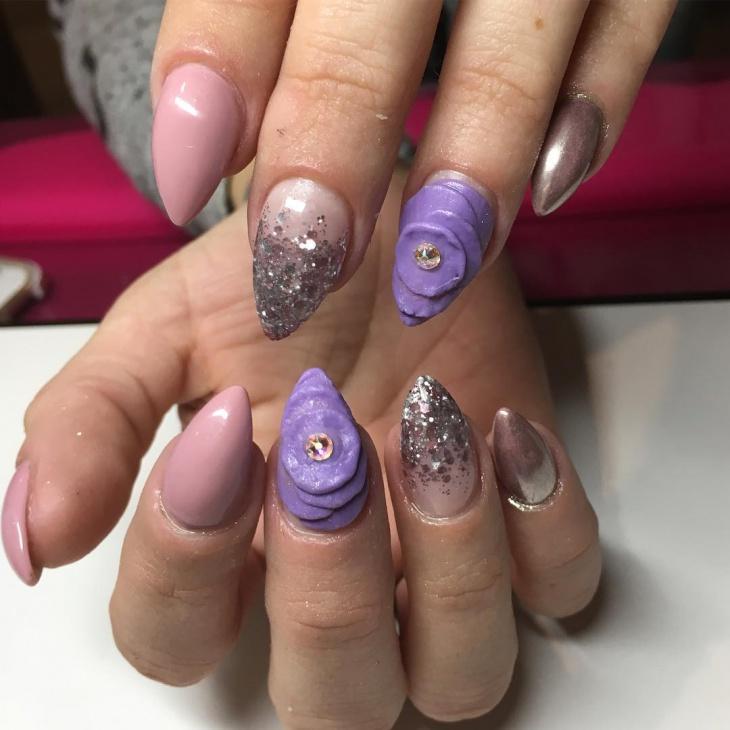 3d flower stiletto nail design