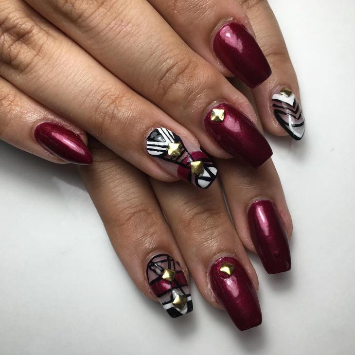 stud square stiletto nail design