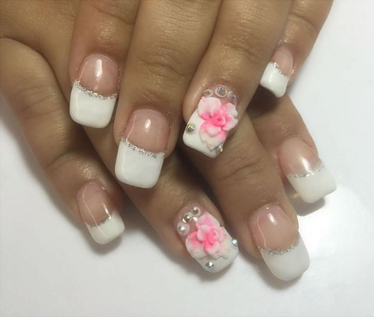 white square stiletto nails