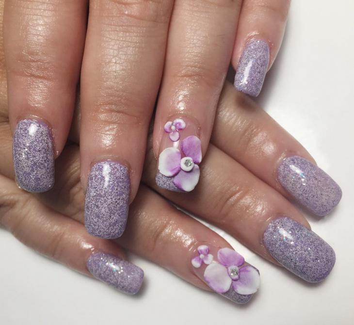 square flower stiletto nail design