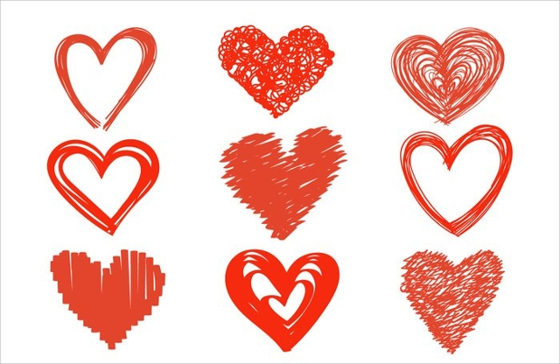 Hand Drawn Heart Icon Designs