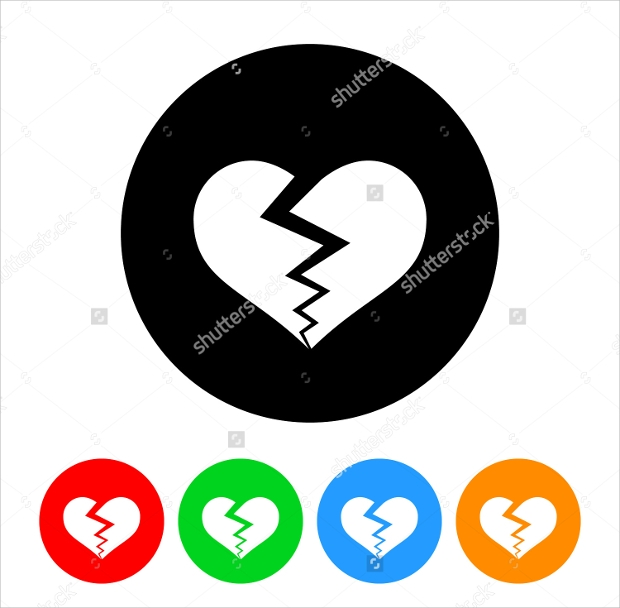 Broken Heart Icon Designs
