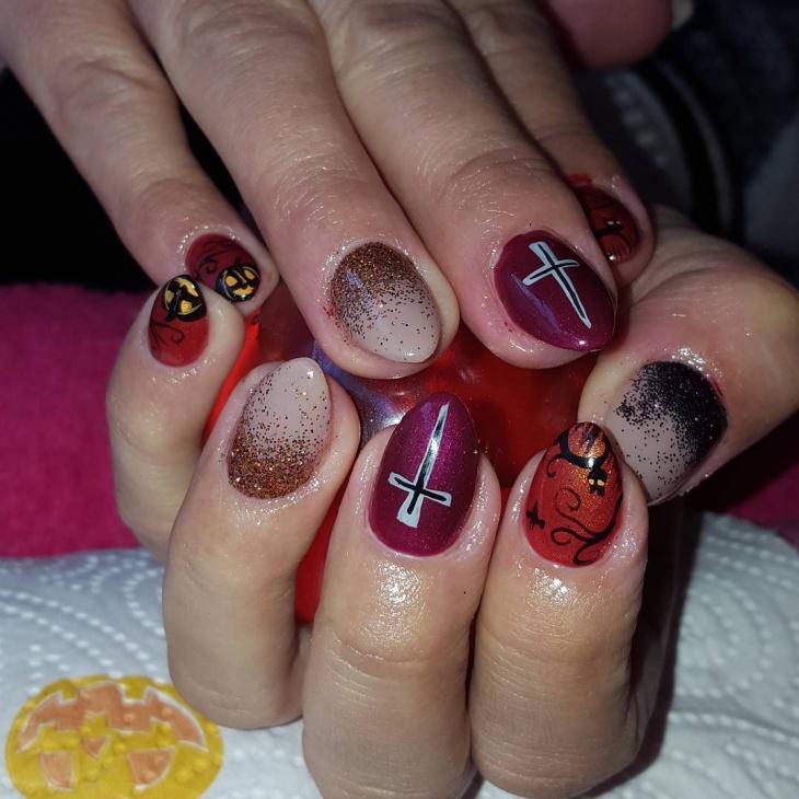 glitter christmas stiletto nail nesign