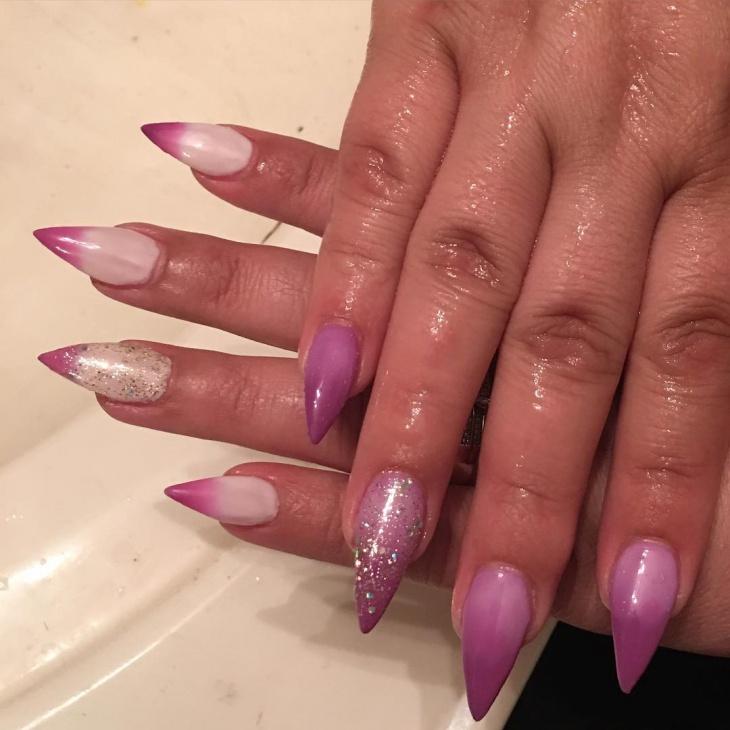 glitter purple stiletto nails