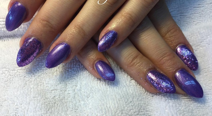 dark purple stiletto nail design