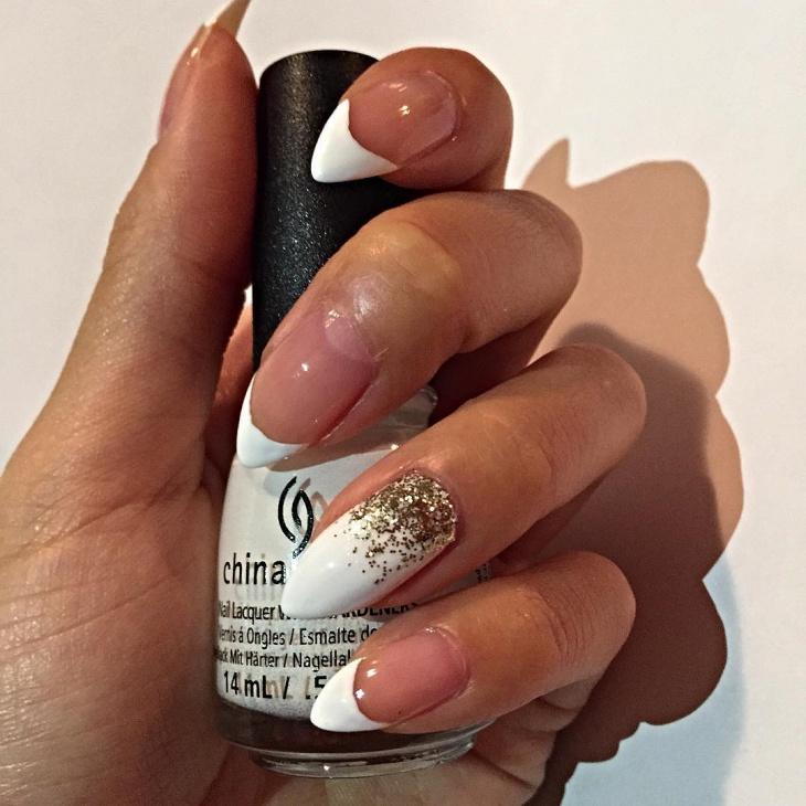 white french tip stiletto nails