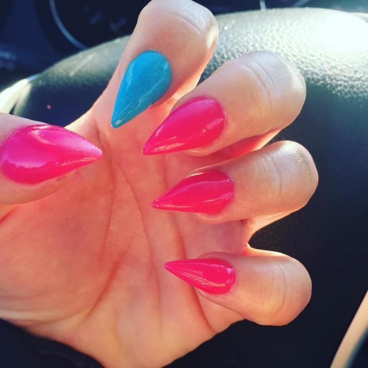 short pink stiletto nails