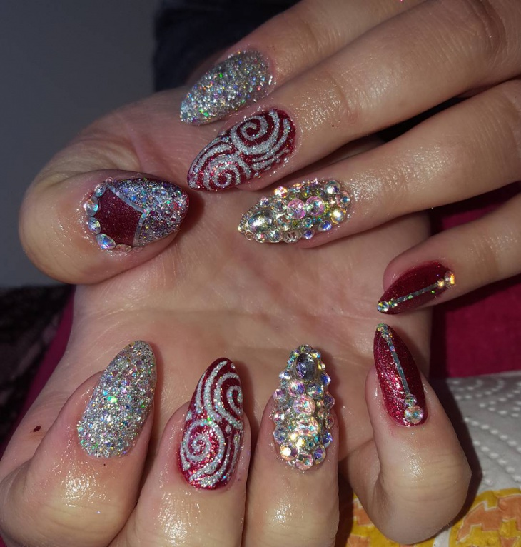 Red Stiletto Nail Design With Rhinestones