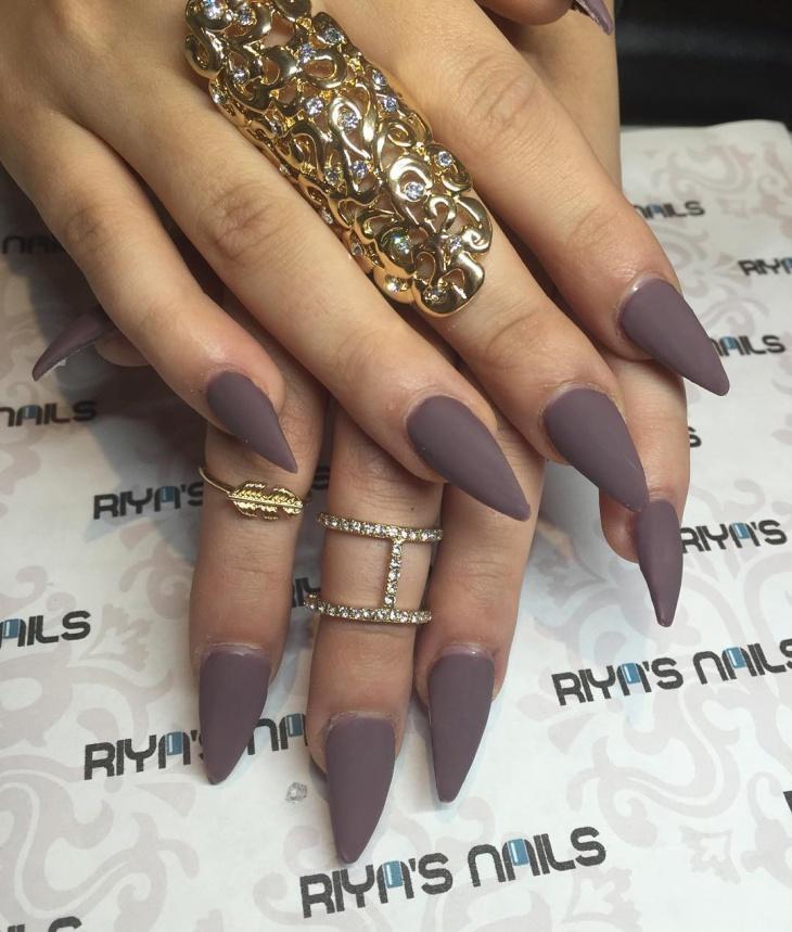 chocolate matte stiletto nails