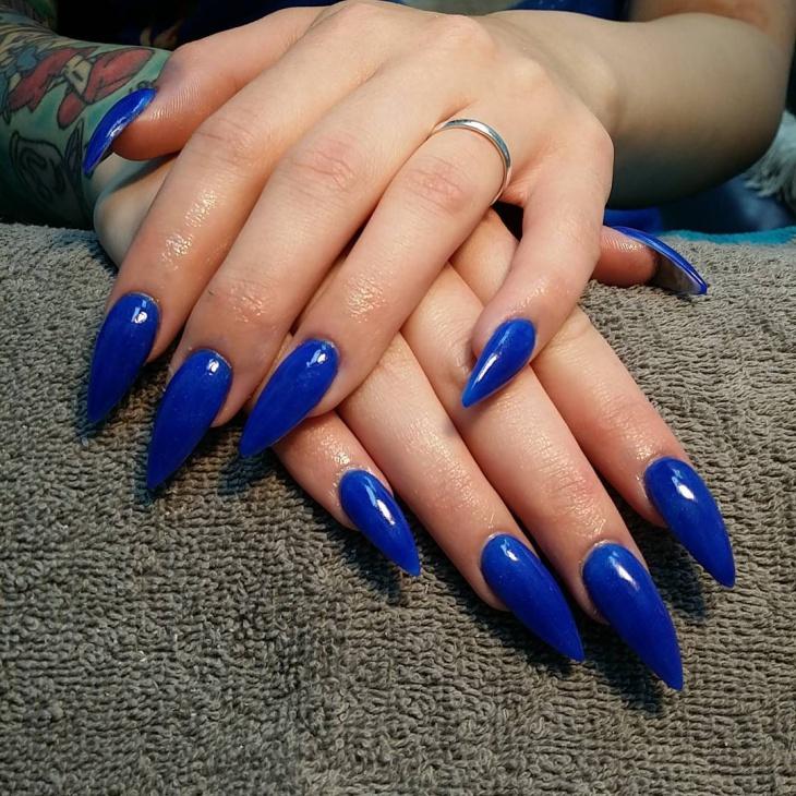 royal blue stiletto nail design