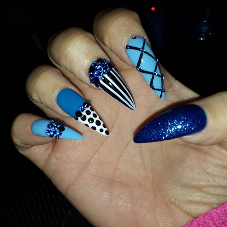 blue stiletto nails with rhinestones