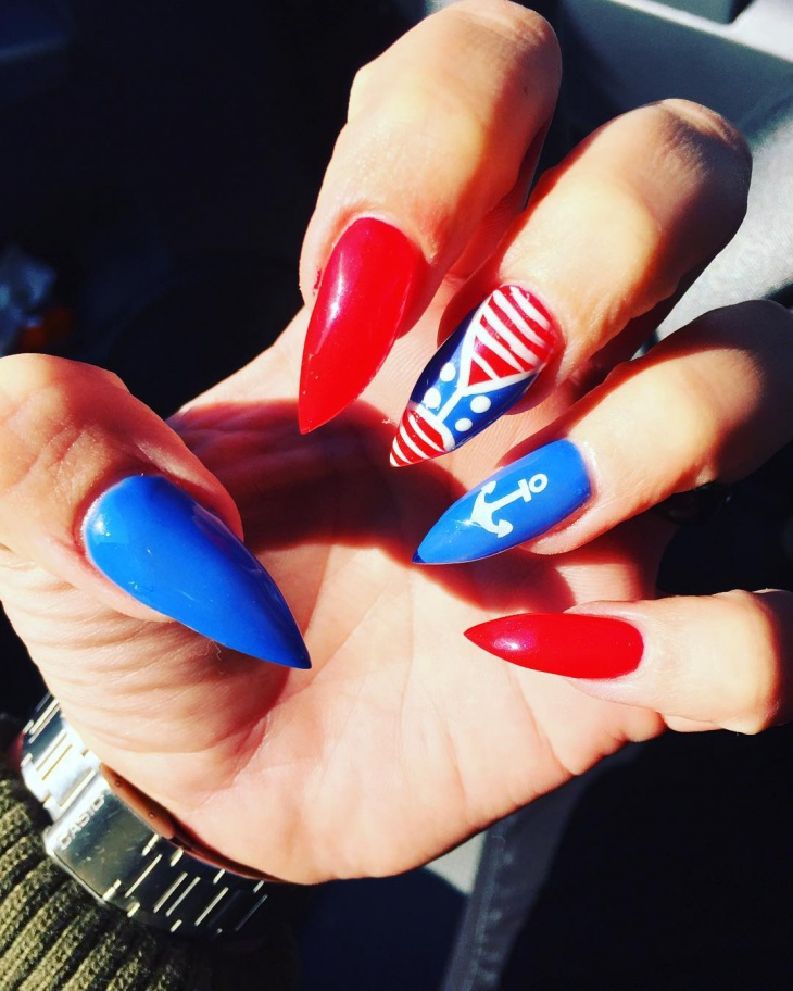 blue and red stiletto nails