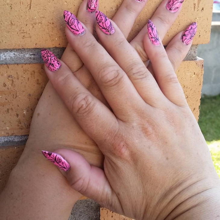 pink floral stiletto nail design