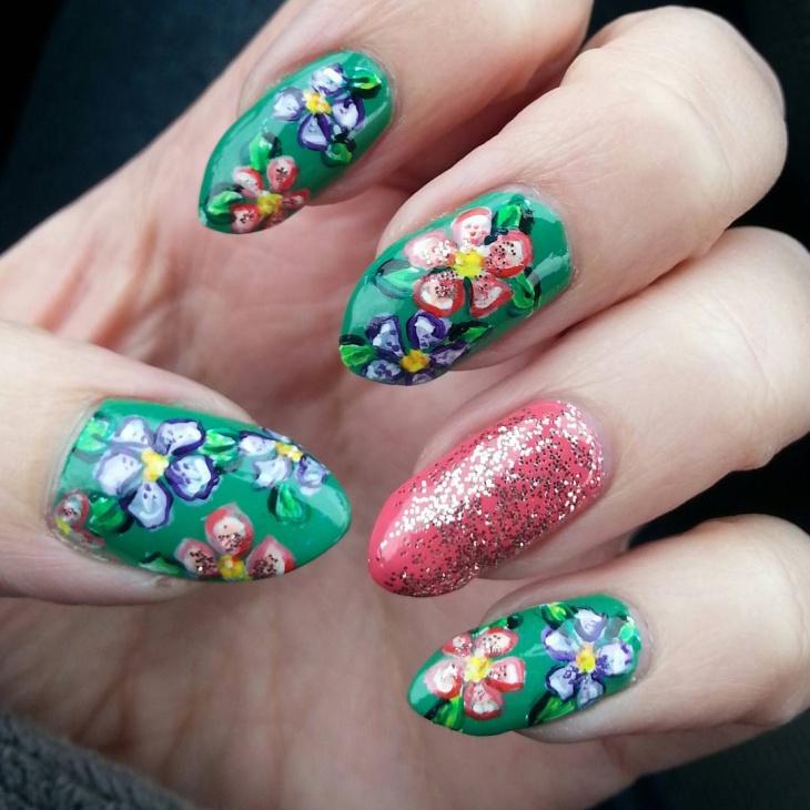 vintage floral print stiletto nails
