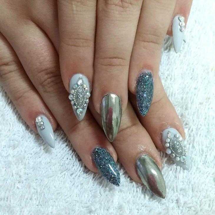 spring glitter stiletto nail design
