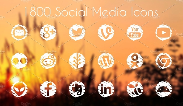 vector rounded social media icons