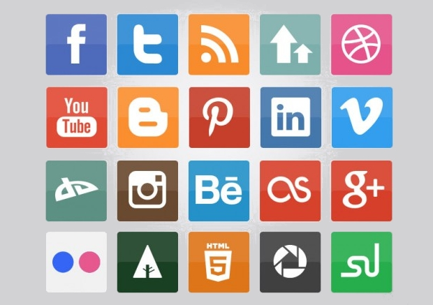 Flat Colorful Social Media Icons