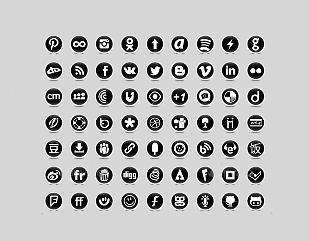 High Resolution Black and White Social Media Icons