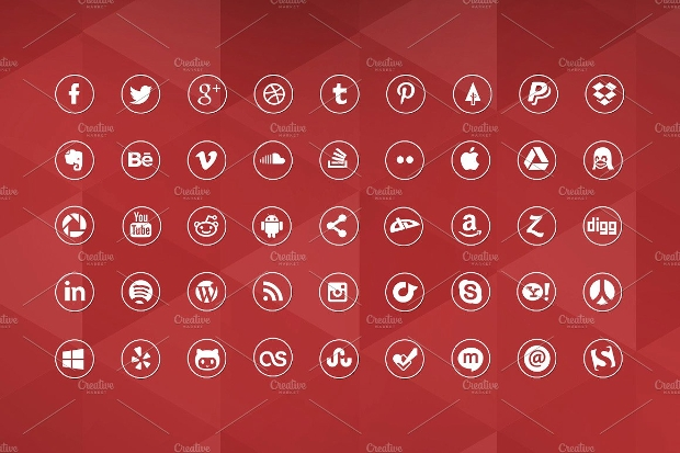 Round Red Social Media Icons