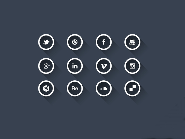 round outline social media icons