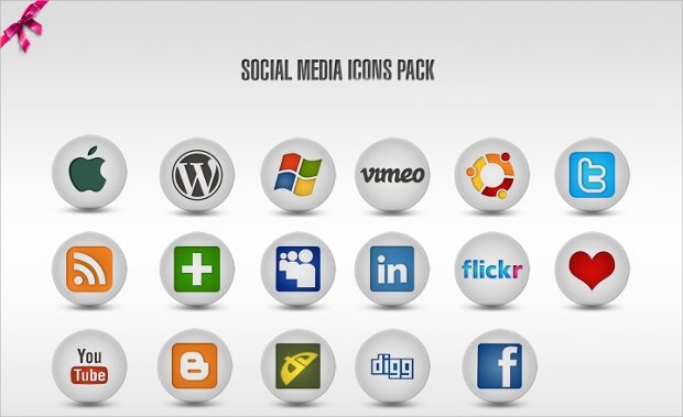 Round Flat Social Media Icons