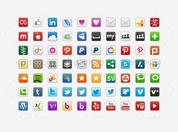 small colored social media icons