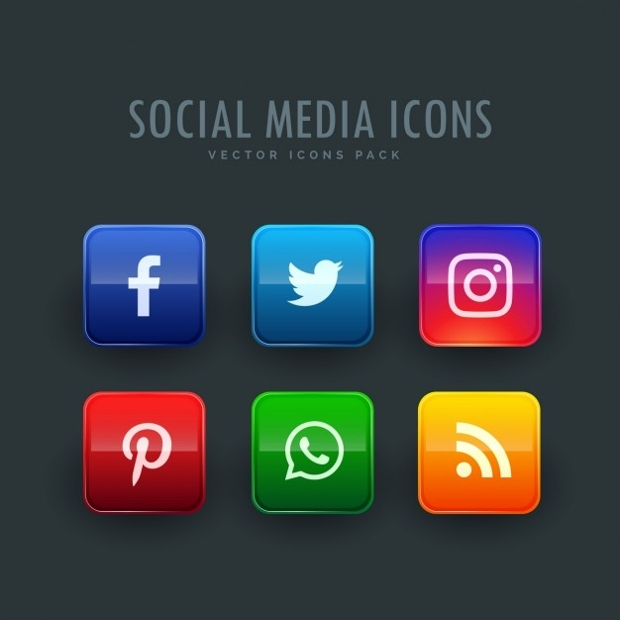 Colorful Square Social Media Icons