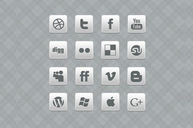 Square Grey Social Media Icons