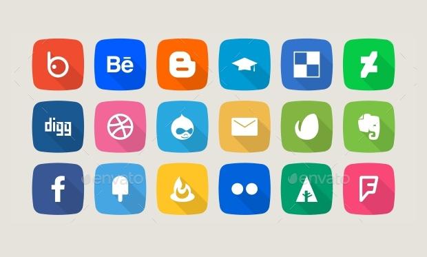 Flat Social Media Share Icons