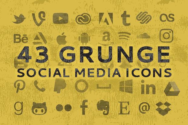 Vintage Grunge Social Media Icons