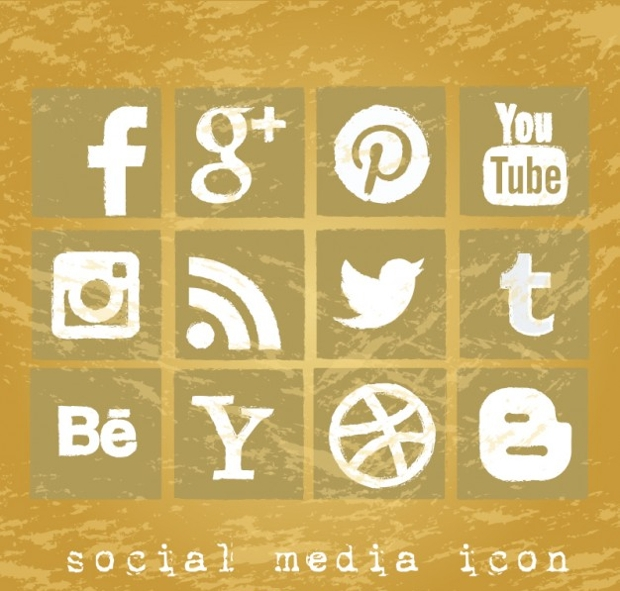 Vector Grunge Social Media Icons