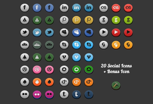 Round 3D Social Media Icons