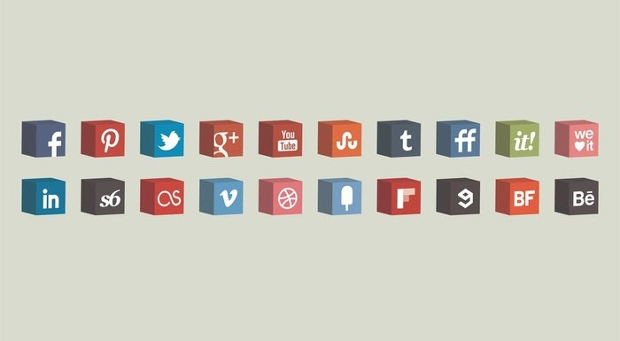 3D Cube Social Media Icons