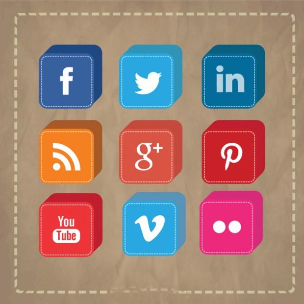 3D Vector Social Media Icons