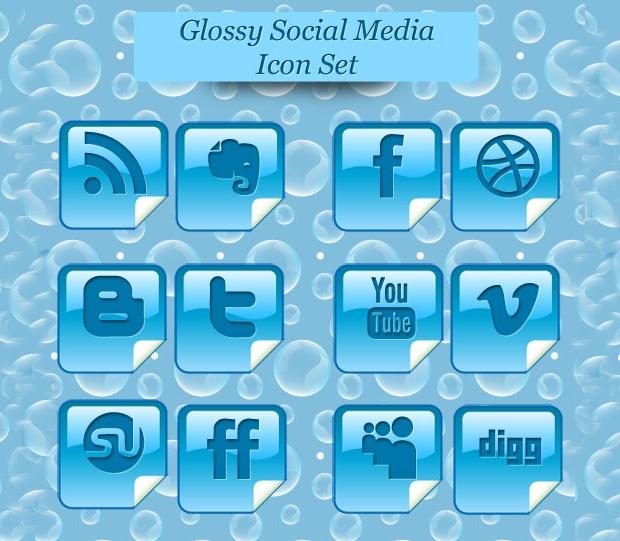 Glossy Blue Social Media Icons