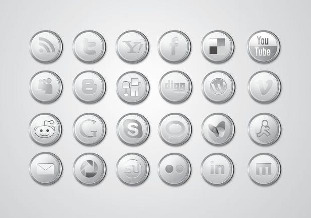 Glossy Silver Social Media Icons