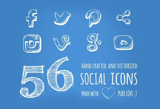 Hand Drawn Doodle Social Media Icons